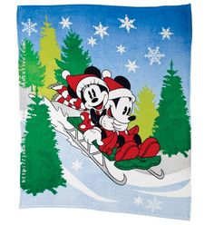 Dashing Through the Snow with Mickey Mouse and Minnie Mouse Throw  798-391