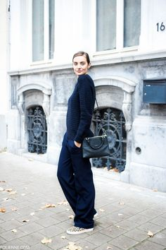 Knit Sweater + Wide Leg Trousers + Print Sleep On Sneakers