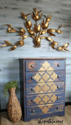 I accidentaly mixed styles and I LOVE IT!  Upcycled maple chest to Boho Chic eye catcher!