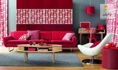 غرف معيشة مودرن - صور لديكور مميز باللون الأحمر | لوكشين ديزين . نت