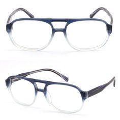 Large Men Women Double Bridge Acetate Frame Prescription Glasses Sunglasses Blue #Unbranded