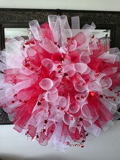 Valentine wreath.....super easy My mom is a pro!