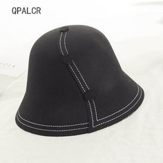 QPALCR Korea Retro Foldable Wool Fedora Hat For Women Buttons Decoration  Bucket Hats Unisex Wool Topper 2ec262cf4ce