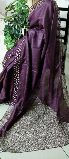 An irresistible and stunning cutwork saree with running blouse piece Cutwork Saree, Organza Saree, Tussar Silk Saree, Saree Embroidery Design, Cutwork Embroidery, Kerala Saree, Indian Silk Sarees, Silk Saree Blouse Designs, Plain Saree