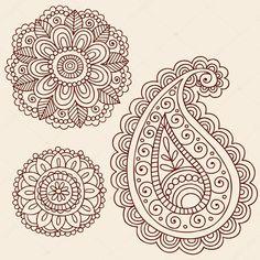 Mão-extraídas do henna mehndi tatuagem flores e elementos de design ilustração do vetor de doodle estampada