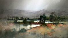 Wetland Landscape John Lovett (has lots of tutorials) The hard edges where the land meet the water, establish the horizontal and oblique linear features that lead into, and frame the center of interest. Spot features are provided by the trees, bushes and fence posts. Notice how the foreground bush at the junction of the waters edge and fence line, holds the eye from running down the oblique line and out of the painting. The strong tonal contrast and surrounding warm colors, create a focal…