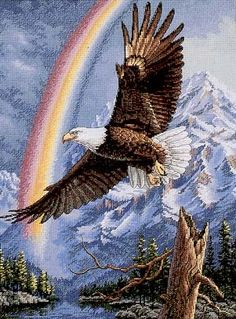 Dimensions The Gold Collection The Promise - Bald Eagle Cross Stitch Kit Type - Cross Stitch Cross Stitch Boards, Cross Stitch Kits, Counted Cross Stitch Patterns, Cross Stitch Embroidery, Cross Stitch Animals, Cross Stitch Flowers, Aigle Animal, Eagle Pictures, Cross Stitch Landscape