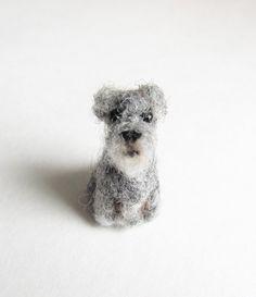 tiny needle felted Schnauzer by HandmadeByNovember on Etsy https://www.etsy.com/listing/107985894/tiny-needle-felted-schnauzer