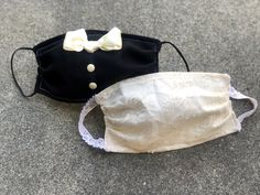 Wedding Face Mask Set for Bride and Groom, Tuxedo and Lace Double Layer Face Cover mask diy Face Mask Set, Diy Face Mask, Face Face, Bridal Mask, Female Mask, Diy Kleidung, South Indian Weddings, Bridal Pictures, Indian Groom