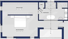 Large master bedroom with walk-in closet behind the bed wall and space for a sitting area in the lower left corner -depending on the layout closet behind bed may be ideal Master Bedroom Addition, Master Bedroom Plans, Master Bedroom Bathroom, Bedroom Floor Plans, Master Room, Master Bedroom Design, Master Closet, Teen Bedroom, Bedroom Designs