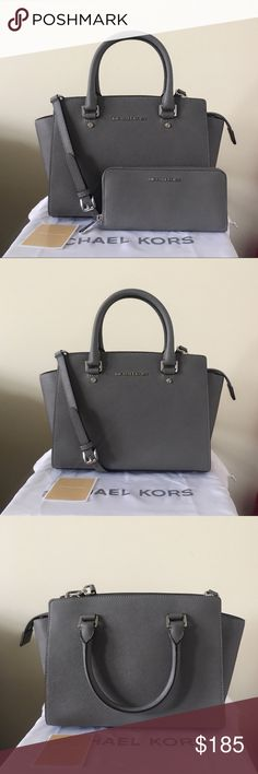 Michael Kors Selma Medium Set With Matching Wallet Beautiful set! Steel gray Saffiano leather with silver detailing. Lightly used. Authentic.  The Selma Satchel is in medium size, has a long strap. Shows very light wear on the hardware, other than that in really good condition.  The wallet shows light wear on the hardware, overall in good condition.  Measurement: 13*9.5*5 inch   Dust bag is included. Michael Kors Bags Satchels