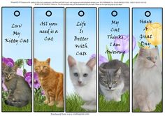 5 Very Cute Cat Bookmarks 1 by Di Simpson These are so cute. Bookmarks make lovely gifts for all ages and situations. Best printed onto glossy paper and then laminate and thread a nice ribbon at the top.