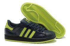 Femmes Adidas Superstar II Classique Noir Vert Adidas Superstar Velcro