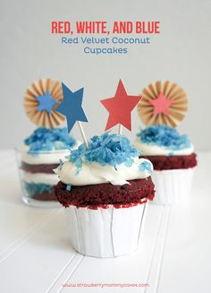 Fourth of July Red Velvet Coconut Cupcakes!