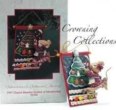 Enesco Mice Hats off to Christmas Treasury of Christmas Ornament 2nd in Best Friends Series Hat Box Karen Hahn Vintage