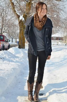 Cheetah print scarf, black peacoat, cowboy boots   comfy winter outfit