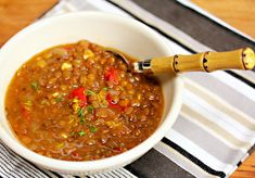 Greek Lentil Soup with red pepper and feta, a year-round favorite to make ahead and freeze.