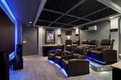 South Austin Home Theater contemporary-home-theater star lights ceiling - Creating a Hollywood Movie Room - Home Theater Decor, At Home Movie Theater, Best Home Theater, Home Theater Rooms, Home Theater Seating, Cinema Room, Home Theater Design, Austin Homes, Contemporary Bedroom