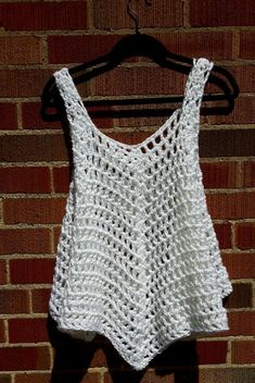 XL White Opaque Crocheted Cover Up / Tank Top / Dress / T-shirt by Claudia's Crochet Creations XL blanco opaco crocheted Cover Up / Tank Top / Vestido / Débardeurs Au Crochet, Mode Crochet, Crochet Cover Up, White Crochet Top, Crochet Pattern, Crochet Tank Tops, Crochet Blouse, Tunic Pattern, Top Pattern