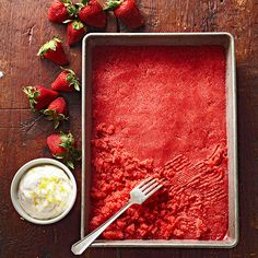 Strawberry Granita: Every glacial bite of this blushing granita is brimming with vitamin-packed strawberries and tart lemon juice. Serve the zero-fat, five-ingredient ice with a zippy spoonful of homespun lemon cream.