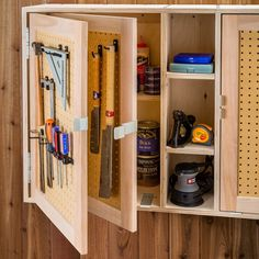 Save space by adding a second door to your workshop cabinet with enough space for smaller hand tools with Rockler's Tandem Door Hinge Set. Double your door storage with these Rockler exclusive Tandem Door Hinges! Workshop Cabinets, Garage Tool Storage, Garage Storage Cabinets, Workshop Storage, Garage Tools, Garage Shelf, Shed Storage, Storage Organization, Locker Storage