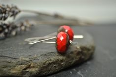 Red and sterling silver earrings £15.00