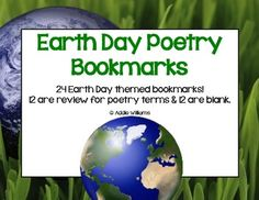 FREE Poetry Bookmarks with an Earth Day Theme! Great review for poetry terms.