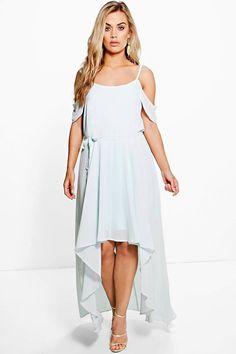 Plus Liz Chiffon Frill Open Shoulder Dress at boohoo.com