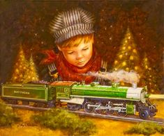 Coco Vivo at gallery has announced a special exhibit by Angela Trotta Thomas, official artist of Lionel Train Corporation, during the month of December. Christmas Train, Christmas Pictures, Christmas Art, Vintage Christmas, Zug Illustration, Illustrations, Woman Show, Lionel Trains Layout, Magical Paintings