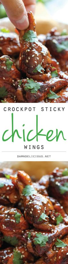 Slow Cooker Sticky Chicken Wings Recipe plus 49 of the most pinned crock pot recipes