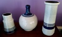 (3) Vintage Lapid Israel  Hand Painted Mid Century Modern ART Pottery by Ester