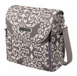 """The Boxy Backpack features water%2Dresistant lining, convenient zip%2Dout changing station with detachable changing pad for easy cleaning, two diaper pockets, four bottle pockets, two interior pockets and a cleverly designed """"easy reach"""" interior pacifier pocket, removable dirty diaper pouch, a """"no more digging"""" handy key clip, sleek black PPB%2Dmonogrammed plastic wipes case and color%2Dcoordinated backpack and shoulder straps with chrome trigger snap hooks.Measures%3"""