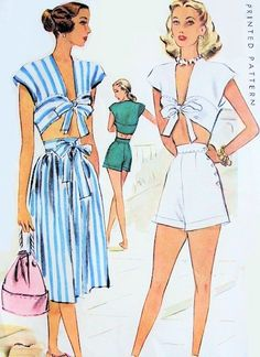 1940s Pin Up Style Sports Ensemble Beach Wear Playsuit Pattern Lana Turner Style Tie Front Midriff Top, High Waist Shorts and Skirt Figure Flattering Designs McCall 6812 Vintage Sewing Pattern Bust 30