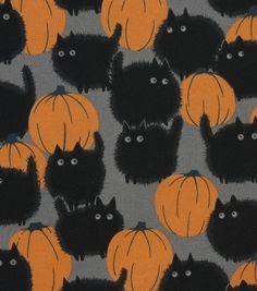 Halloween Cotton Fabric -Belinda'S Big Kitty Halloween Cotton Fabric – Belinda'S Big Kitty Cool Halloween Costumes, Vintage Halloween, Fall Halloween, Halloween Crafts, Halloween Decorations, Happy Halloween, Halloween Fabric, Halloween Witches, Halloween Patterns