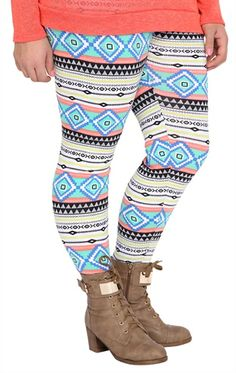 Deb Shops Plus Size #Neon Stripe Tribal Print #Legging