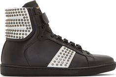 Saint Laurent | Studded Court Classic High-Top Sneakers.