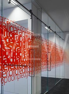 Love the combination of overlapping text and color for these office window graphics!