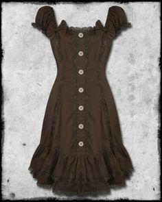 Spin Doctor Eliana Brown Lace Trim Steampunk Vtg Victorian Style Corset Dress | eBay
