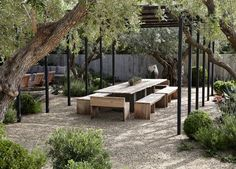 Wooden Pergola Attached To House - Pergola Ideas Australia - Outdoor Pergola Dining - - - Modern Pergola Patio Gravel Patio, Gravel Garden, Pergola Patio, Backyard Landscaping, Pea Gravel, Pergola Kits, Pergola Shade, Steel Pergola, Gazebo