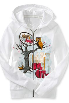 Hoot Hoot Zip Up Hoodie (white) Oh my gosh this is definitely on my wish list!