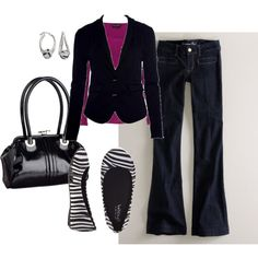 I'm a fan of black... this is cute! I would do different shoes with the flare leg jeans.