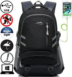 Backpack Bookbag For School College Student Travel Business With USB  Charging Port Water Resistant Fit Laptop Up to Inch Anti theft Night Light  Reflective ... a2851e66d1