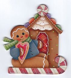 HP Gingerbread Gingerbread House and Candy Cane Fridge Magnet | eBay