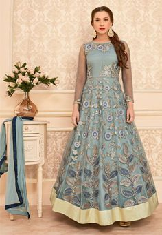 Bollywood Anarkali Salwar Suits Online Shopping, Buy salwar kameez online from our collection of exclusive indian salwar kameez. Grab this Gauhar Khan Gripping Gray Ankle Length Anarkali Salwar Suit. Long Anarkali, Anarkali Gown, Lehenga Choli, Saree Dress, Blue Lehenga, Eid Dresses, Indian Dresses, Indian Outfits, Indian Clothes