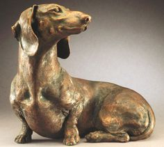 Bronze Sculpture - Dachshunds get some attention and a nice little sculpture. I wish I could find more of Sams.