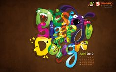 Design Wallpaper Calendar April Easter Designs Edition Desktop Design 1920x1200 Pixel