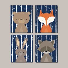 WOODLAND Nursery Prints Or Canvas Woodland Animals WALL ART Woodland Decor Fox Bear Raccoon Woodland Baby Shower Navy Set Of 4