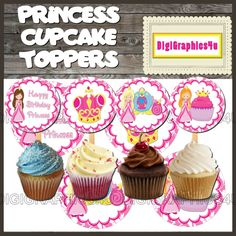 Printable Happy Birthday Pink Princess 2 inch Cupcake Toppers Jewelry Keychains and more!