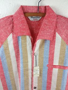 "VINTAGE 1950'S 2-TONE ATOMIC FLECK/STRIPE ROCKABILLY ""SPORTSMAN""SHIRT-MEDIUM NOS"