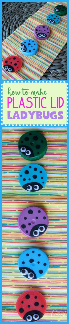 These plastic lid ladybugs are a fun and super simple way to reuse milk or juice container lids, and turn them into a cute craft project!